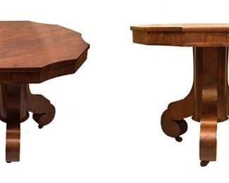 Crotch Mahogany Center Table 1800s