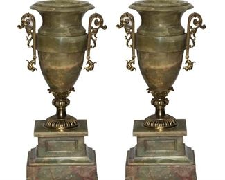 Green Marble Urns