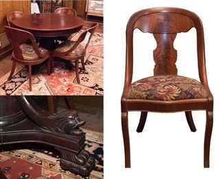 Mahogany Center Table Dolphin Feet and Empire Dining Chairs