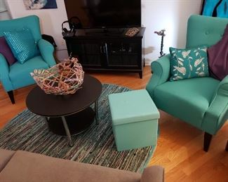 Lovely Turquoise Teal Chairs, Ottoman, Round Table, Side Table, Rug/carpet, Artistic Decor and Throw Pillows