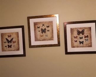 Butterfly prints. Also have lots of frames and artwork