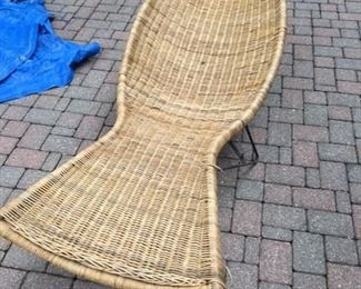 RARE AND UNUSUAL MCM RATTAN FISH CHAISE LOUNGE