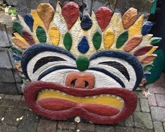 VERY UNIQUE HAND CARVED PAINTED CARNIVALE CIRCUS WALL ART
