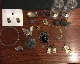 SOME STERLING JEWELRY - LOTS MORE COSTUME JEWELRY NOT PICTURED