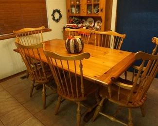 dining table with chairs, china cabinet