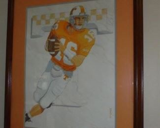 """Peyton' matted & framed painting of Peyton Manning by Harold McGee  #324/1997'  signed"