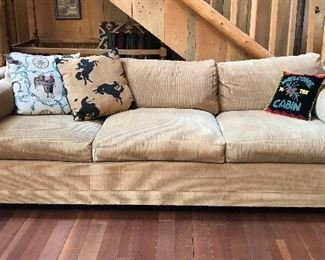Full size fabric sofa - soft golden cream color