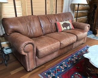 Full size leather sofa - rustic brown