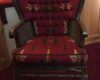 Pendleton fabric covered, cane rattan arm chair
