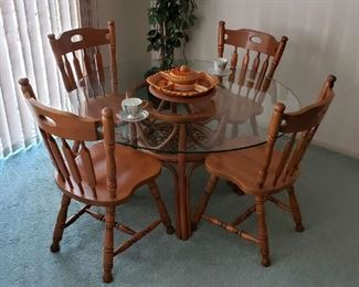 Bamboo & Glass Round Dining Table and 4 Solid Wood Chairs