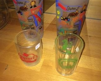 vintage Austin glasses, shiner glass and Texas Centennial glass from 1936