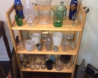 bottles and candleholders