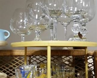 Glassware including Southern Airways jiggers