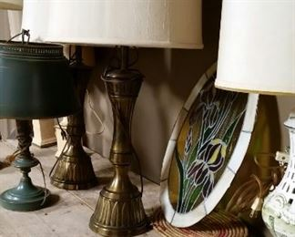 Brass and porcelain lamps... stained glass