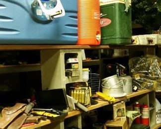 Camping and outdoor paraphernalia, lanterns, coolers, propane, flashlight, pots etc