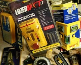 Laser spot tool and numerous leveling devices and professional measurement tools
