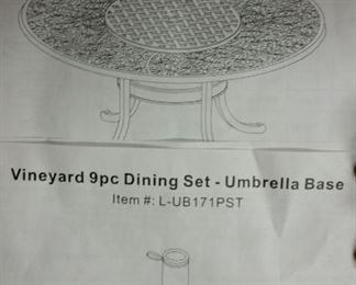 "Durable all welded cast aluminum  Vineyard 60"" outdoor dining table and umbrella base ...still in original packing"