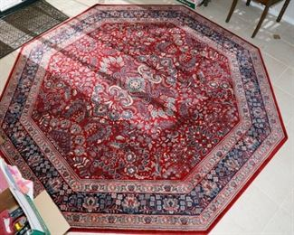This rug is approximately 8' x 8' Octagon shaped and is absolutely perfect under a round or square dining room table or an area rug in a large room. The photos are very close to the actual colors. This is a very nice rug! The quality of the Kashimar collection by well respected rug maker Couristan is very obvious. With features like semi-worsted New Zealand wool, locked-in-weave and crystal-point finish, your Kashimar area rug will be a treasured possession for years to come. This rug was made in Belgium.