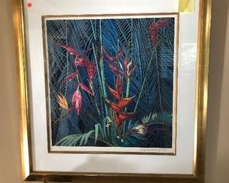"""""""Morning Flowers"""" limited edition signed and numbered serigraph by Ting Shao Kuang 35.5 x 36.6"""