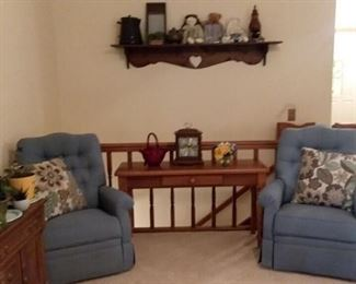 Blue upholstered Chairs; sofa table; wall decor; is Amberina glass basket;  country collectibles