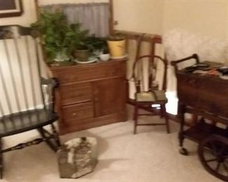 Vintage rocking chair; wood tea cart; silk plants; pottery; child's chair; dry sink cabinet