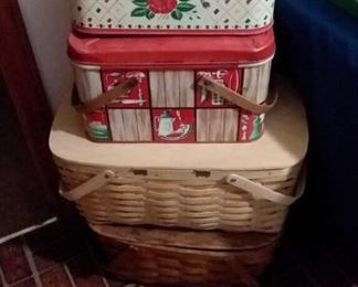 Vintage tin and woven baskets