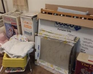Assorted portable cribs; gliders and much more... still with box!