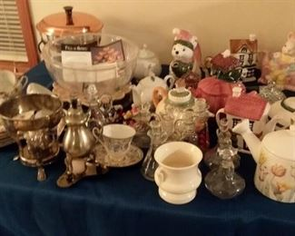 Vintage teapots, glass, cookware and bakeware, servingware, silverplate, tea cups, pottery and more!