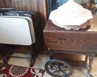 TV trays and Wood Tea Cart