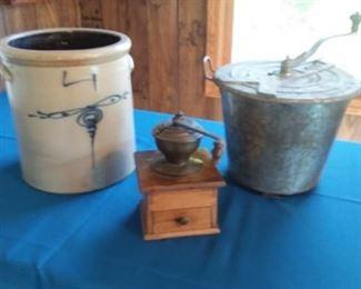 Wonderful Salt Glaze Crock, Coffee Grinder  & Dough Mixer