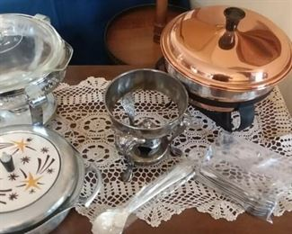 Copper Chafing Dish; Mid-Century Modern (Retro) Aluminum Chafing Dish; and other serving pieces.