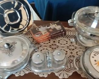 Retro / Mid-Century Modern Hammered Aluminum Chafing Dish; Condiment Serving Set and more!