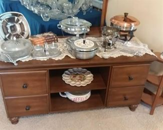 Great dark stained wood entertainment center / side buffet Cabinet; wood heart-shaped side stand and a wonderful collection of mid-century modern / retro serving pieces.
