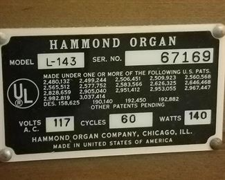 Hammond Organ Spinet with Bench made in 1963-68. It is Model No.  L-143 - Serial 67169