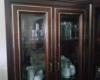 nice modern display cabinet and contents
