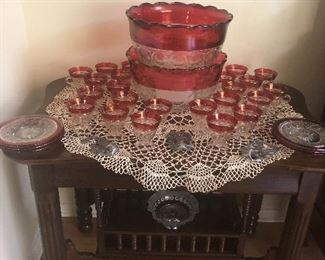 Indiana Glass Company, Punch Bowls and Cups... Antique Side Table