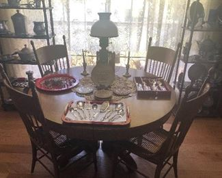 Antique Oak Table, 1 Large Leaf, and 6 High-Back Chairs