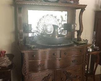 Beautiful, Antique Buffet, with several Pewter pieces