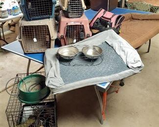 dog crates, beds