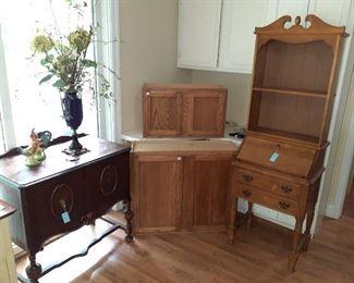 secretary, hutch, oak cabinets