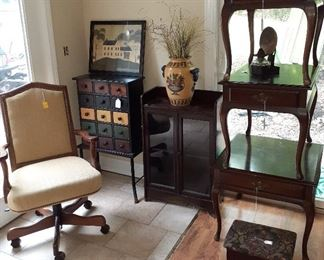 hutch end tables, office chair