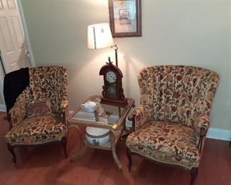 arm chairs, side table