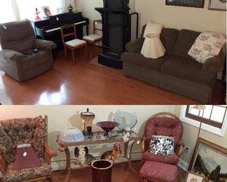 power lift chair, loveseat, slider rockers, sofa table, Roseville crock, ceramic dogs, piano, treadmill