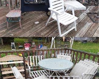 Woodard patio set, Charbroil grill