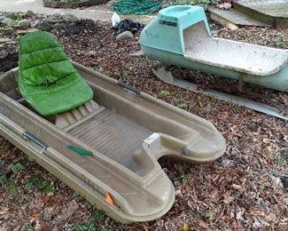 Bass Hunter flat bottom boat, snowmobile trailer