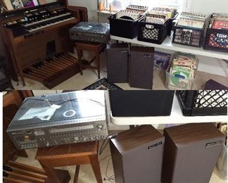 Quasar stereo turn table and speakers, vinyl records, organ