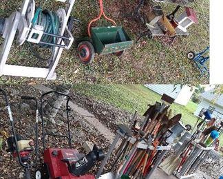 snow blower, tiller, hose reel, bench, lawn tools