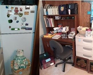fridge, desk, office