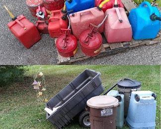 gas cans, lawn trailer, oars