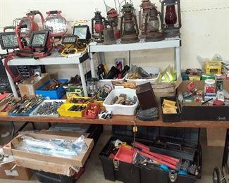 shop lights, tools, lanterns